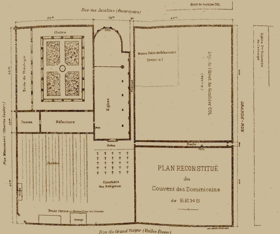 Le couvent de jacobins partir de 1227 for Plan de sens dans l yonne